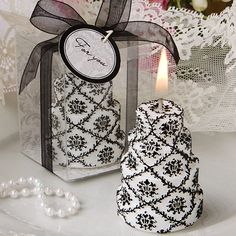 Damask Design Cake Candle Wedding Favors.  Great For The Black and White Wedding Theme. www.ceceliasbestwishes.com
