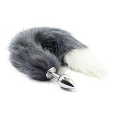 페티쉬 스테인레스 스틸 크기 S 항문 플러그 항문 섹스 장난감, 엉덩이 플러그 그레이 동물 고양이 여우 꼬리 섹스 장난감 플레잉 성인 게임