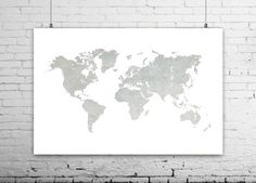 Navy world map poster world map art canvas print by ikonolexi world map print large world map printable map world map poster world map travel decor wall prints grey map home decor wall decor by ikonolexi on gumiabroncs Image collections