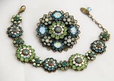 LIZ PALACIOS Vintage 80's BLUE SWAROVSKI CRYSTAL FLOWER BROOCH & BRACELET SET #lizpalacios