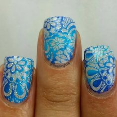 Blue Lace Nail Stamping