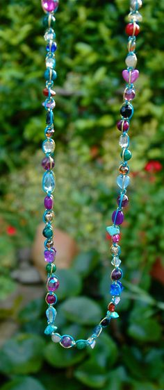 Long sparkly multi gemstone beaded macrame necklace, boho jewellery by TessHeaven on Etsy https://www.etsy.com/uk/listing/249281217/colourful-beaded-necklace-long-multi?ref=shop_home_active_1