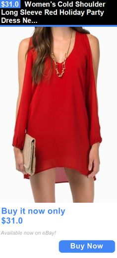 8be2b2c023ab Women Fashion  Womens Cold Shoulder Long Sleeve Red Holiday Party Dress New  Small BUY IT