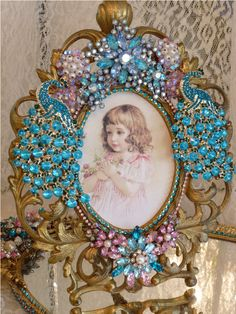 Special Order ES Peacock Frame From The Collection  By Debbie Del Rosario-Weiss, Juliana,brush, comb, vintage, Clock,tray, mirror, perfume, antique, vintage, victorian, Sparkle, Eisenberg, Judy Lee,