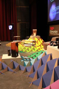"Wall Breaker Lawrence Kwok had this to say about his awesome set design he created for the TEDx Edmonton Conference: ""I'm really proud of th. Design Set, Stage Set Design, Church Stage Design, Display Design, Event Design, Diy Design, Exhibition Booth Design, Exhibition Space, D Lab"