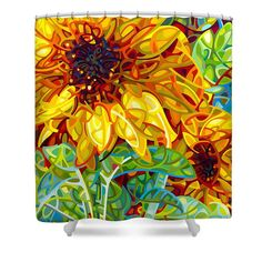 Summer Shower Curtain featuring the painting Summer In The Garden by Mandy Budan