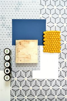 Moodboard for Pepijn's new room, his cool boysroom. Edward van Vliet layers wallpaper, dark blue and white by Painting the Past.