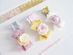 Girls/Baby Hair Clip Set Felt Flower Felt Bow Hair by CharlieCocos