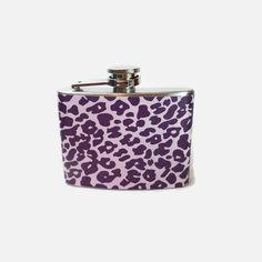 Stainless Steel Hip Flask with dark purple leopard print on light purple wrap - 4oz 6oz 2oz 1oz - animal print