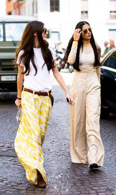 cute tshirt outfit - bold yellow and white pants