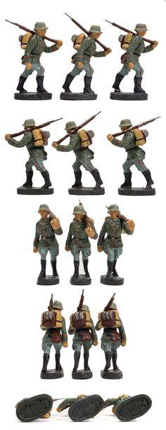 9 Stück ELASTOLIN Massefiguren, 7,5 cm Soldaten Gepäck & Gewehr orig. 30er Jahre   eBay