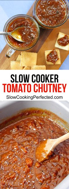 If you're after a slow cooker tomato chutney that tastes as good as it looks then this is the recipe for you. It's got delicious spices, apple and tomatoes. Relish Recipes, Jam Recipes, Canning Recipes, Recipe For Tomato Relish, Curry Recipes, Slow Cooker Recipes, Crockpot Recipes, Christmas Chutney, Slow Cooker
