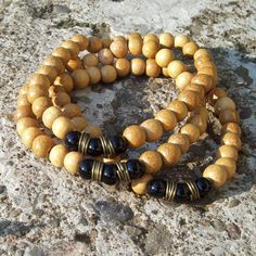 Onyx with Mustard Dyed Wood Beaded Stretch Bracelet by Angelof2, $23.00