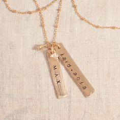 Personalized Gold Tag Necklace - push present!