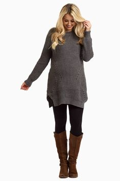 It's that time for sweater weather! This solid heavy knit sweater will be sure to keep you warm during all your winter outings this year. Simply wear this knit sweater with jeans or leggings and long boots for a perfectly casual winter outfit. Winter Maternity Outfits, Cozy Winter Outfits, Stylish Maternity, Winter Outfits Women, Winter Fashion Outfits, Casual Outfits, Dress Winter, Maternity Sweaters, Maternity Clothing