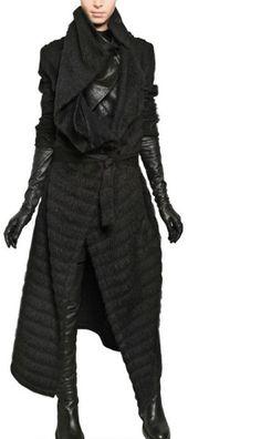 Ann Demeulemeester Furly Wool Alpaca Coat in Black