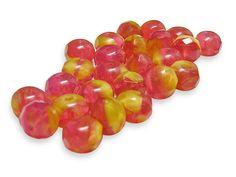 Czech Fire Polished Beads 5x8mm Pink Lemonade Fire by GR8BEADS