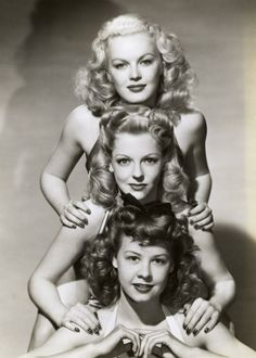 "Hollywood contract gals, pose for the ""boys"" overseas--June Haver, Vivian Blaine   friend-1940s"