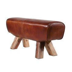 Turnpferd-Bank, Pauschenpferd Bank echt Leder - Gym bench 'pommel horse' leather for the home