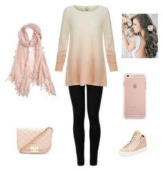 """""""Everyday Peach Outfit"""" by dsontow ❤ liked on Polyvore featuring Wolford, Joie, Giuseppe Zanotti, Forever 21 and Chan Luu"""