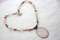 Rose Quartz (The stone of LOVE) Pendant on Handmade Beaded Necklace by jewelrybysassy Handmade Beaded Jewelry, Unique Jewelry, Beaded Necklace, Beaded Bracelets, Wearable Art, Rose Quartz, Chokers, Stone, Pendant