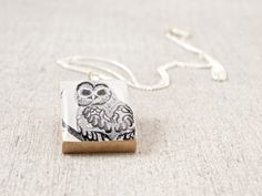 Black and White Whimsical Owl Upcycled Scrabble Tile Pendant Necklace by WiReDBoutique on Etsy