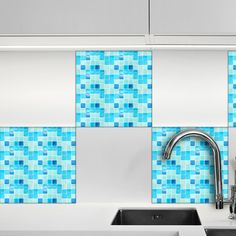 WallPops! Mosaic Light Blue Peel and Stick Tiles Wall Decal