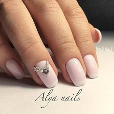Simple Pink French Tip Manicure for Brides to Be