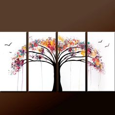 4pc Abstract Canvas Art Painting 72x36 Contemporary by wostudios, $399.00