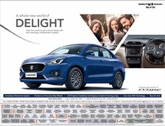 View Maruti Suzuki Swift Dzire A Whole New World Of Delight Ad newspaper. This Ad is collection of Sample Ad at Advert Gallery. Car Advertising, Advertising Design, Car Banner, Suzuki Swift, A Whole New World, Japanese, Times, Logos, Gallery