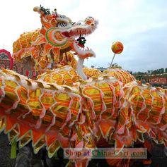 Chinese dragon dance, cool orange tones