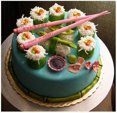 sushi & vegetarian themed cake