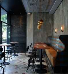 Wall bench seating. Pub style