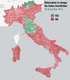 Gli Arcani Supremi (Vox clamantis in deserto - Gothian): Mappa dell'esito del referendum costituzionale del 4 dicembre 2016 visualizzato per singoli comuni