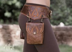 Mohana Leather Pocket Belt Bag Marbled Brown and by MohanaDesigns