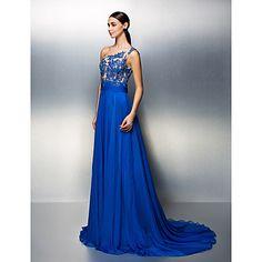 uma linha de um ombro vestido de chiffon trem tribunal noite (1799000) – EUR € 126.04