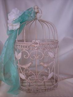 Tiffany Blue Wedding Birdcage Card Box....this is adorable! Maybe if your guests decide to give you money as a gift they can drop it off in here! Just make sure someone stands by it and collects it after everyone is present at the reception! :)