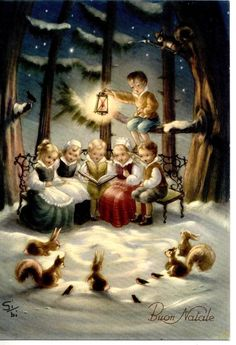 Signed GiBi Boy & Girls Singing Squirrells Snow Xmas Vintage PC Circa 1950 A