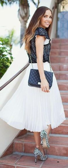 White Pleated A-line Maxi Skirt by alexandra