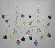 "Sterling Silver~""BOTANICA"" multi-gem Earrings One-of-a-kind"