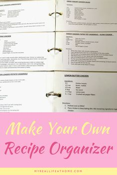 Do you have recipes all over your kitchen? This is the best recipe organizer I found for me and you can make it yourself! Easy to customize for your recipes. Loaded Potato Casserole, Tater Tot Casserole, Recipe Organization, Planner Organization, Chicken Dressing, Greek Yogurt Chicken Salad, Getting Organized At Home, Lemon Butter Chicken
