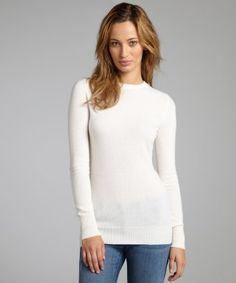 Hayden : rice cashmere knit crewneck sweater : style # 322878404