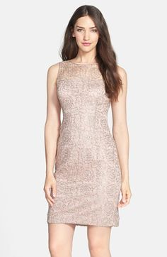 Adrianna Papell Sleeveless Sequin Metallic Lace Dress available at #Nordstrom