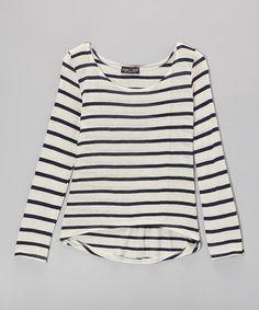 This Navy & White Stripe Hi-Low Top is perfect! #zulilyfinds