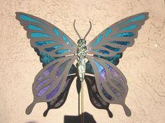 Butterfly Garden Stake Large, Fused Glass, Metal Butterfly, Handmade Yard Art