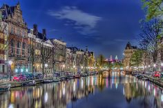 Amsterdam at night. The Netherlands