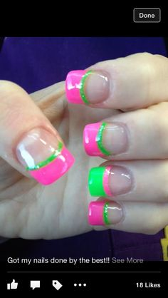 Pink and green nails :)