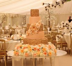 peach and gold cake