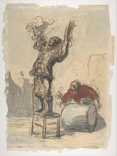 """Street Show - Honore Daumier.  c.1868.  Black chalk and watercolor on laid paper.  14 3/8 x 10 1/16"""".  The Metropolitan Museum of Art, New York City, NY."""