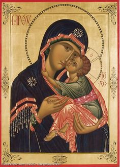 Icon of the Theotokos - the God bearer with the Christ Child Religious Images, Religious Art, Sunday School Activities, Byzantine Icons, Blessed Virgin Mary, Orthodox Icons, Roman Catholic, Stretched Canvas Prints, Christian Faith